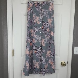 Gypsies & Moondust Floral Maxi Skirt with Buttons